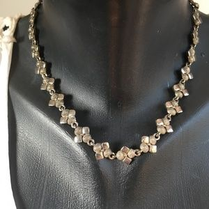 80's VTG Silver Tone Metal Statement Necklace 90's